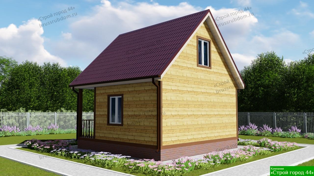 151f4b671c4f4 Проект №65 Уютный дачный дом из бруса 6×6 м
